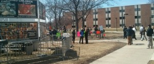 Students for Life across from Voices for Choices at Oakland University